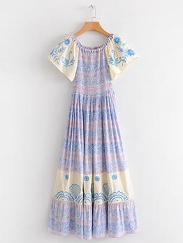 Printed Color Block Boho Maxi Dress