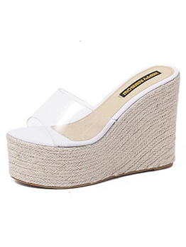 Spring PVC Thick Platform Wedges Woman Slippers