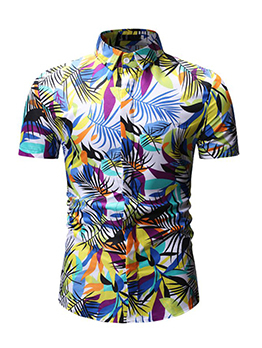 Colorful Printed Turndown Collar Mens Shirts