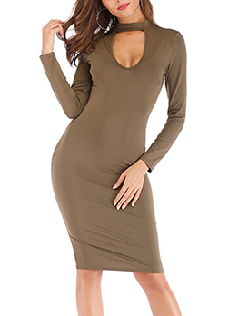 Keyhole Neck Fitted Long Sleeve Bodycon Dress