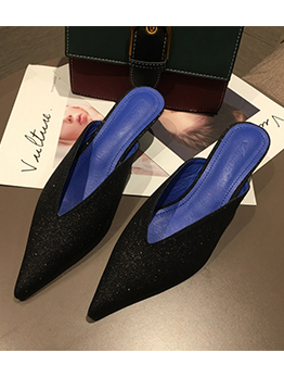 Spring Pointed Toe Kitten Heel Mules Slippers