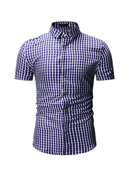 Classic Plaid Turndown Collar Mens Shirts