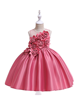 Stereo Flower Bow Girls Party Dresses