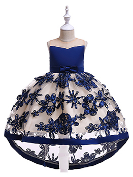 Stereo Embroidery Bow Girls Dresses