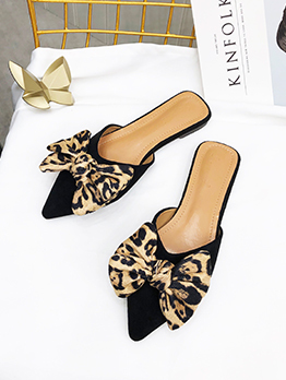 Spring Suede Bow Pointed Mules Slippers