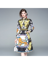 Single-Breasted Exquisite Printed Fitted Dress