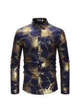 Retro Style Printed Fitted Long Sleeve Shirt