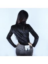 High Neck Dots Long Sleeve Black Velvet Bodysuit