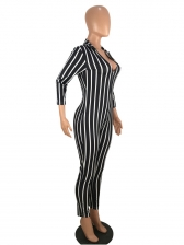Sexy Deep V Neck Striped Fitted Pencil Jumpsuit