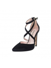 Pointed Satin Close-Toe Strappy Pumps
