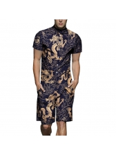 Vintage Personality Dragon Printed Romper For Men