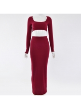 Euro Solid U Neck Crop Top With Maxi Skirt