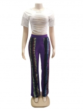 Casual Striped Sequin High Waist Long Pants