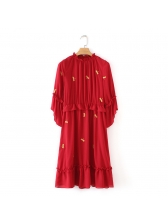 Dragonfly Embroidery Red Chiffon Dress