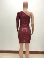 Sexy Sequin One Long Sleeve Slit Dress