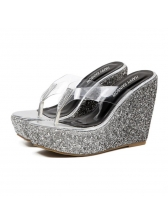 Sexy Sequined Platform Wedges Flip Flop Slippers