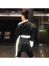 Chic Contrast Color Brightly Black Blazer For Women