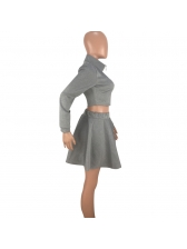 Lantern Sleeve Zip Top With A-Line Short Skirt
