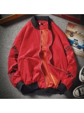 Letter Stand Collar Jackets For Men