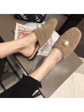Fashionable Fur Solid Pearl Mules Slippers
