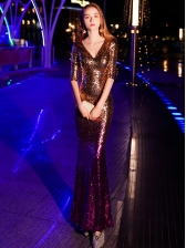 Boutique Gradient Sequined Evening Dress