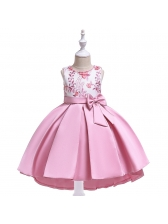 Embroidery Bow Beaded Girls Party Dress