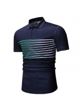 Striped Patchwork Fitted Short Sleeve Polo Shirt