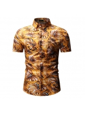 Single-Breasted Printed Fitted Shirt For Men