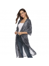 Causal Leopard Printed Chiffon Long Cover Ups