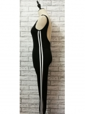 Euro Striped Backless Slim Jumpsuits