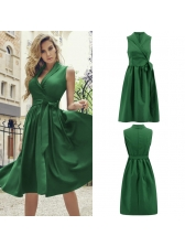 V-neck Binding Bow Womens Sleeveless Dresses