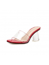 Matching PVC Square Toe Clear Slippers