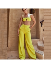 Sexy Low-Cut Crop Camisole With Palazzo Pants