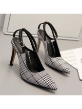 Spring Pointed Toe Houndstooth Ankle Strap Pumps