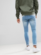 Fashionable Pocket Distressed Light Blue Jeans