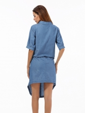 Binding Bow Denim Asymmetrical Blue Short Sleeve Dress