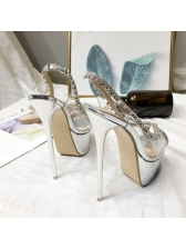 Korean Design Diamond PVC Platform Pumps
