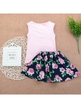 Letter Floral Baby Girl Sleeveless Outfits