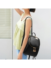 College Style Double Zip Black Backpack