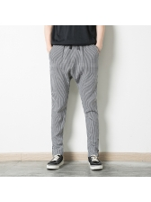 Hip Hop Style Plaid Drawstring Long Pants