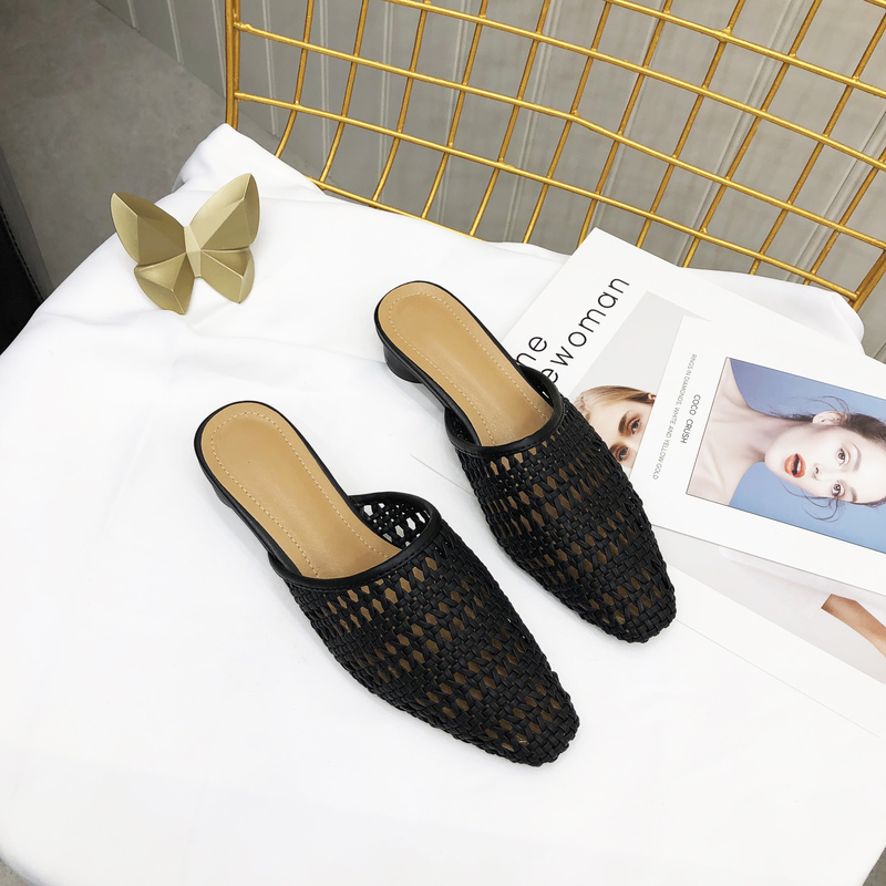 Korean Design Weave Solid Closed Toe Mules Slippers