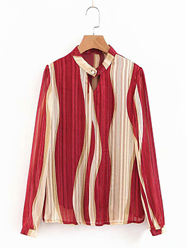 Striped Contrasting Colors Stand Neck Blouse