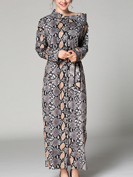 Binding Bow Snake Print Maxi Dress