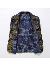 Lapel Collar Paisley Fitted Mens Blazer