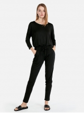 Euro Solid Black Jumpsuits For Woman