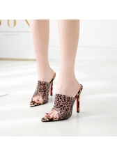 Pointed Leopard Printed Pointed Heel Slippers