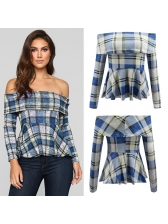 Boat Neck Fitted Plaid Blouse For Women