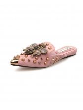 Fashionable Rivet Bee Beading Mules Slippers