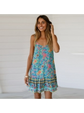 Summer Backless Sleeveless Floral Dress