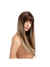 Fashion Neat Bang Ombre Color Long Straight Synthetic Wigs